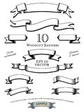 Woodcut Banners Vector Set. Collection of woodcut engraved banners vector illustration, easily customizable with global color swatches. Objects grouped and Stock Photos