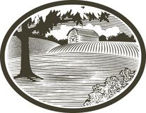 WoodCut With Barn Scene. Woodcut style illustration of a rural barn scene Royalty Free Stock Image