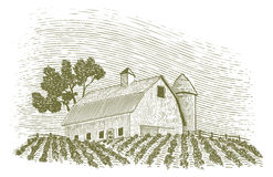 Woodcut Barn and Silo Royalty Free Stock Images