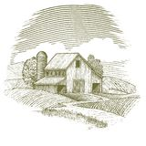 Woodcut Barn Royalty Free Stock Photography
