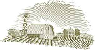 Woodcut Barn and Windmill. Woodcut style illustration of a farm scene with a windmill Royalty Free Stock Image