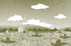 Woodcut Barn Yard. Vector-style illustration of rolling farm fields with a barn in the foreground Royalty Free Stock Photos