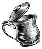 Woodcut Beer Stein Tankard. An illustration of a traditional beer stein or tankard in a woodcut style Stock Photography
