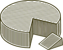 Woodcut Block of Cheese Stock Photos
