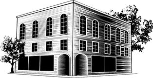 Woodcut Building. Woodcut style illustration of a downtown office building Stock Photos