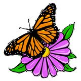 Woodcut butterfly on flower Stock Image