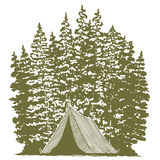 Woodcut Camping Graphic Stock Image
