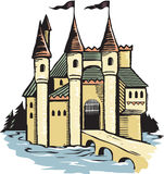 Woodcut Castle Stock Photo