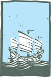 Woodcut Chinese Junk Sailing Day Royalty Free Stock Image