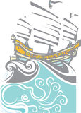Woodcut Chinese Junk and Sea Life Stock Photography