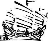 Woodcut Chinese Junk Stock Image