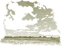 Woodcut Cloud Scene. Woodcut-style illustration of a farm landscape with clouds in the background Stock Image