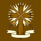 Woodcut cross with swords Stock Photo