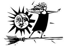 Woodcut czarownica z słońcem i księżyc ilustracji