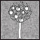 Woodcut da árvore de Apple Imagens de Stock Royalty Free