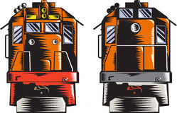 Woodcut da parte traseira da parte dianteira do trem do diesel retro Imagens de Stock
