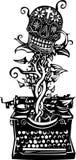 Woodcut death Typewriter Royalty Free Stock Photos