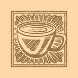 Woodcut do café Foto de Stock
