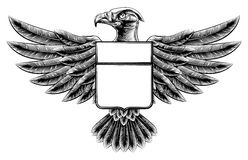 Woodcut Eagle Shield Royalty Free Stock Photo