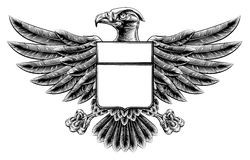Woodcut Eagle Shield Royalty Free Stock Photography