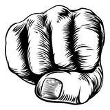 Woodcut Etching Fist Hand Stock Photos