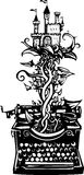 Woodcut fantasy Typewriter Royalty Free Stock Images