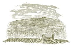Woodcut Farm Barn and Field. Woodcut-style illustration of a barn and field Stock Image