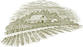 Woodcut Farm Road. Woodcut-style illustration of a country road passing by a barn and fields Stock Photos