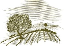 Woodcut Farm Scene royalty free illustration
