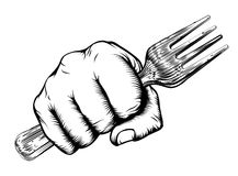 Woodcut Fist Hand Holding Fork Stock Images
