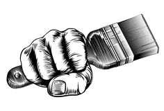 Woodcut Fist Hand Holding Paintbrush Stock Images