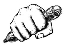 Woodcut Fist Hand Holding Pencil Royalty Free Stock Photography