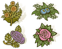 Woodcut Flowers. Spring/summer flowers in woodcut style using nice soft colors. Global colors for easy edit. Outline, color and drop shadows on separate layers Royalty Free Stock Photos