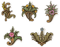 Woodcut Flowers Too Stock Image
