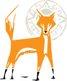 Woodcut Fox with Halo Stock Photography