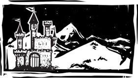 Woodcut góry kasztel royalty ilustracja