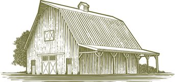 Woodcut Garden. Woodcut-style illustration of a barn Stock Images