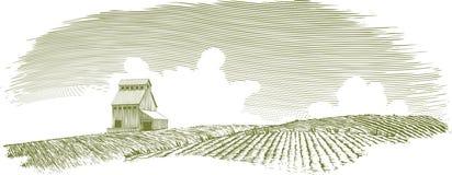 Woodcut Grain Elevator Landscape. Woodcut-style illustration of a grain elevator in a landscape scene Stock Images