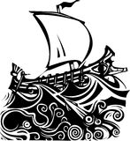 Woodcut Greek Galley Sea and Sea Life Royalty Free Stock Photography