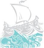 Woodcut Greek Galley Sea and Sea Life Royalty Free Stock Photo