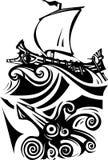 Woodcut Greek Galley Sea and Sea Life Stock Photo