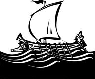 Woodcut Greek Galley Sea Royalty Free Stock Photography