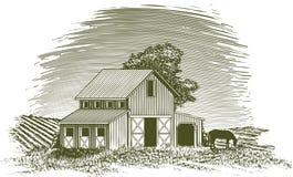 Woodcut Horse Barn Stock Images