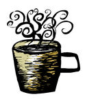 Woodcut hot cuppa Stock Photography