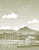 Woodcut Idaho Barn. Woodcut style illustration of an Idaho farm scene Royalty Free Stock Images