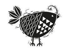 Woodcut bird in black and white Royalty Free Stock Photo