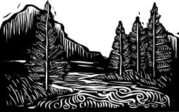 Woodcut Landscape. Woodcut style expressionist landscape with trees and river Stock Image