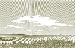 Woodcut Landscape. Woodcut style illustration of a prairie landscape Royalty Free Stock Photography