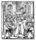 Woodcut 'Luther and Hus sharing the Sacrament' Stock Photos