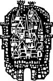 Woodcut Medieval City Stock Photo